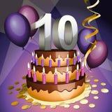 Décima torta del aniversario Imagen de archivo libre de regalías