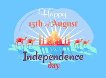 Décimo quinto August Independence Day feliz en el cartel de la India Imagenes de archivo