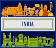 décimo quinto August Independence del fondo tricolor de la India stock de ilustración