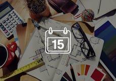 Décimo quinto concepto del plan del calendario del horario de la nota de la cita Foto de archivo libre de regalías