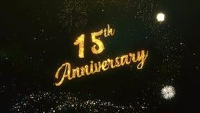 décimo quinto texto del saludo del aniversario hecho del cielo nocturno oscuro de la luz de las bengalas con el fuego artificial  stock de ilustración
