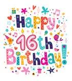 Décimosexto cumpleaños feliz Imagen de archivo libre de regalías