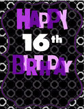 Décimosexto tarjeta de cumpleaños feliz libre illustration