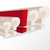 Décision économique, illustration conceptuelle avec les points d'interrogation a Photographie stock libre de droits