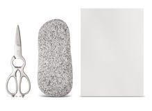 Décision avec des ciseaux de papier de roche Photographie stock libre de droits