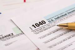 Déclaration d'impôt des USA 1040 Photos stock