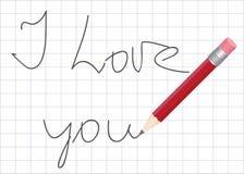 Déclaration de l'amour écrite par le crayon Photographie stock libre de droits
