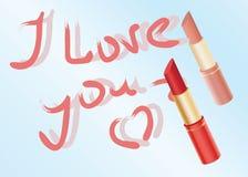 Déclaration de l'amour écrite par le rouge à lèvres Images libres de droits