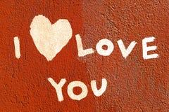 Déclaration de l'amour écrite sur le mur Photos libres de droits