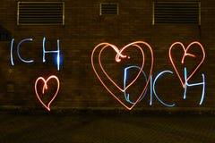 Déclaration de l'amour avec la lumière photo libre de droits