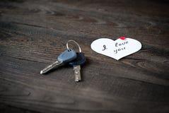 Déclaration de l'amour et des clés Image stock