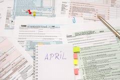 déclaration de l'impôt 1040 Photo stock