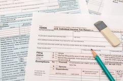 déclaration de l'impôt 1040 Photographie stock libre de droits