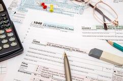 déclaration de l'impôt 1040 Photos libres de droits