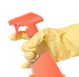 déclenchement enfilé de gants de jet de fixation de main de bouteille Image stock