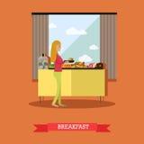 Déclenchez-vous en Egypte, illustration plate de conception de style de vecteur de concept de petit déjeuner Photo stock