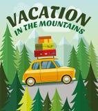 Déclenchez-vous en la voiture aux montagnes des vacances illustration libre de droits