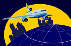 Décollage d'avion à réaction Photo libre de droits