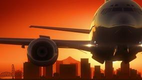 Décollage de lever de soleil d'horizon de Portland Orégon Etats-Unis Amérique illustration stock