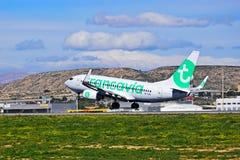 Décollage de Transavia d'avions de transport de passagers Photographie stock