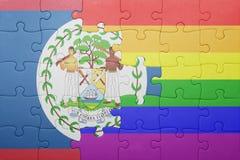 Déconcertez avec le drapeau national de Belize et de drapeau gai Images libres de droits