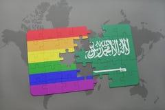 déconcertez avec le drapeau national de l'Arabie Saoudite et le drapeau gai d'arc-en-ciel sur un fond de carte du monde illustration de vecteur