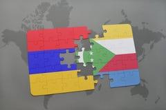 déconcertez avec le drapeau national de l'Arménie et des Comores sur une carte du monde Images stock