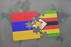 déconcertez avec le drapeau national de l'Arménie et du Zimbabwe sur une carte du monde Images stock