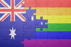 Déconcertez avec le drapeau national de l'Australie et du drapeau gai Images stock