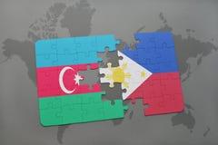 déconcertez avec le drapeau national de l'Azerbaïdjan et des Philippines sur une carte du monde Photos libres de droits