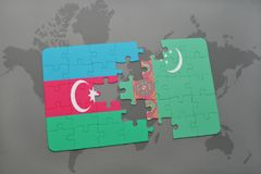 déconcertez avec le drapeau national de l'Azerbaïdjan et du Turkménistan sur une carte du monde Photo libre de droits