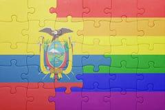 Déconcertez avec le drapeau national de l'Equateur et du drapeau gai Photos libres de droits
