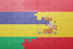 déconcertez avec le drapeau national de l'Espagne et des îles Maurice Images stock