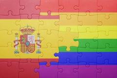 Déconcertez avec le drapeau national de l'Espagne et du drapeau gai Photos stock