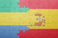 déconcertez avec le drapeau national de l'Espagne et du Gabon Photo libre de droits