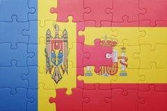 Déconcertez avec le drapeau national de l'Espagne et du Moldau Photographie stock
