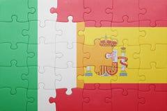 Déconcertez avec le drapeau national de l'Espagne et de l'Irlande Photos stock