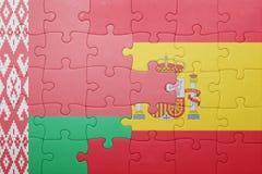 Déconcertez avec le drapeau national de l'Espagne et de la Biélorussie Photographie stock libre de droits