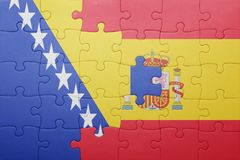 Déconcertez avec le drapeau national de l'Espagne et de la Bosnie-Herzégovine Photographie stock