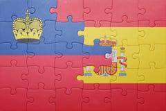 Déconcertez avec le drapeau national de l'Espagne et de la Liechtenstein Image libre de droits