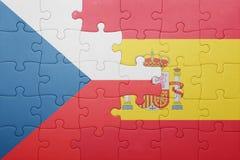 Déconcertez avec le drapeau national de l'Espagne et de la République Tchèque Images stock