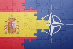 Déconcertez avec le drapeau national de l'Espagne et de l'OTAN Photographie stock