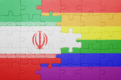 Déconcertez avec le drapeau national de l'Iran et du drapeau gai Photographie stock
