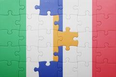 Déconcertez avec le drapeau national de l'Irlande et des Frances Photo libre de droits