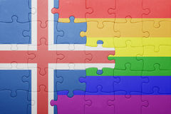 Déconcertez avec le drapeau national de l'Islande et du drapeau gai Photographie stock