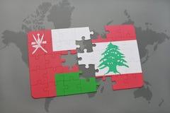 déconcertez avec le drapeau national de l'Oman et du Liban sur un fond de carte du monde Image stock