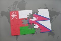 déconcertez avec le drapeau national de l'Oman et du Népal sur un fond de carte du monde Images stock