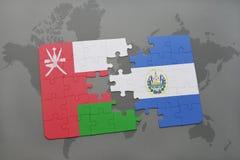 déconcertez avec le drapeau national de l'Oman et du Salvador sur un fond de carte du monde Image stock