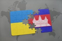 déconcertez avec le drapeau national de l'Ukraine et du Cambodge sur une carte du monde Images stock