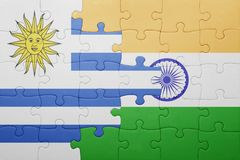 Déconcertez avec le drapeau national de l'Uruguay et de l'Inde Photographie stock